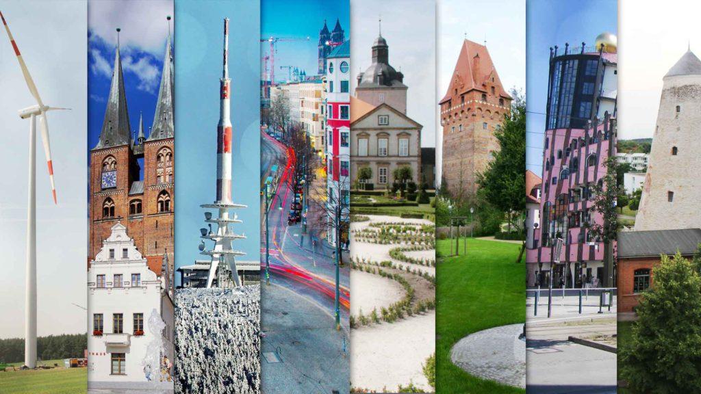 Collage mit Impressionen aus dem Verbreitungsgebiet der Mediengruppe Magdeburg
