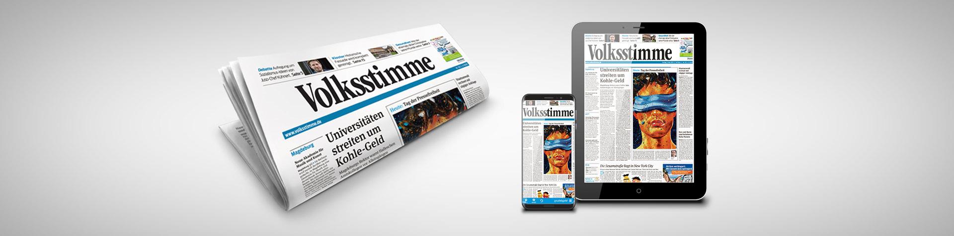 Titelbild Volksstimme Tageszeitung PackShot und ePaper