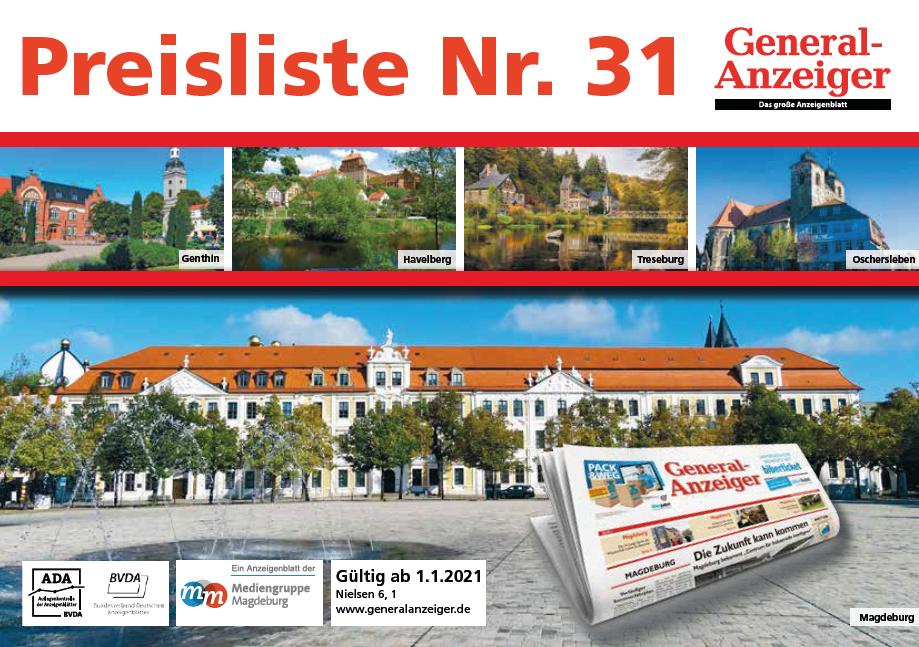 Deckblatt Preisliste GA 2021