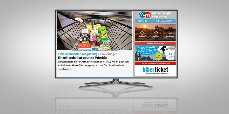 Werbung auf digital-out-of-home Produkten der Mediengruppe Magdeburg